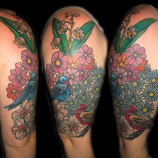BIRDS IN FLOWERS SLEEVE
